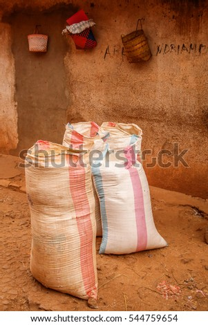 Bags of grains on sale on the african market