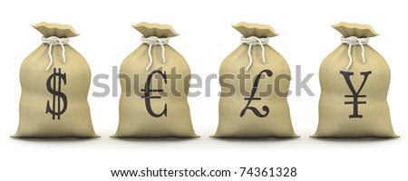 Bags of money with symbols of dollar, euro, pound and yen - stock photo
