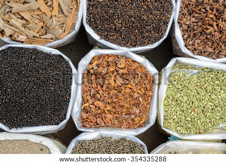 Bags of spices at the spice market in Old Delhi, India - stock photo