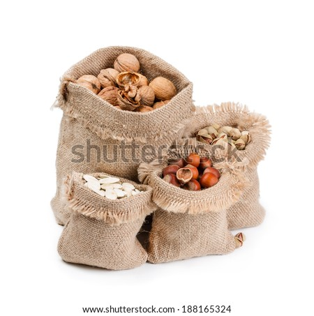 Bags with different nuts isolated on white background. - stock photo