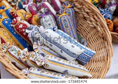 Bags with dried lavender blossoms on the market in Aix en Provence, South France - stock photo