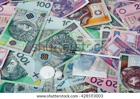 Bags with drugs on the background of polish money