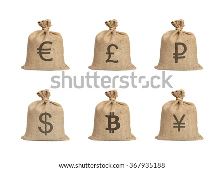 Bags with money isolated on a white background. - stock photo
