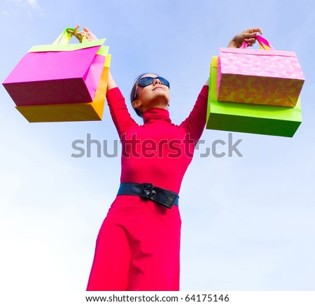 Bags Woman Expression - stock photo