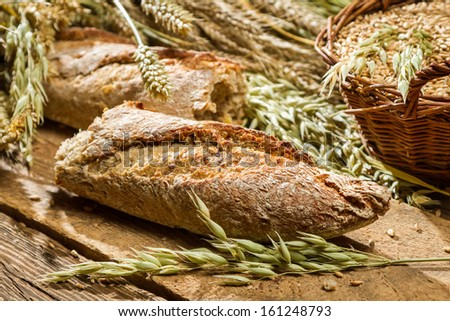Baguette baked with wholemeal flour