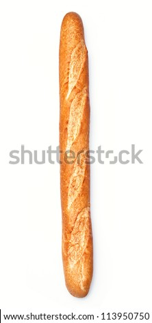 Baguette on white background with clipping path - stock photo