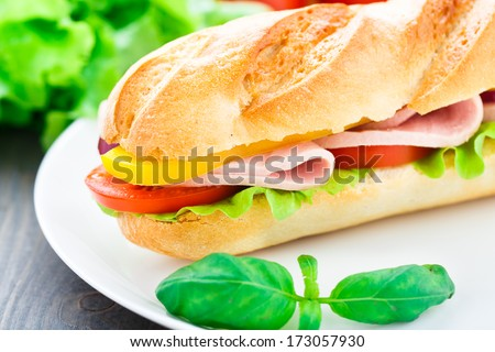 Baguette sandwich - stock photo