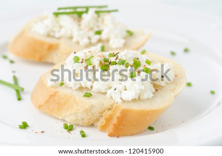 baguette with cottage cheese and green onion on a plate