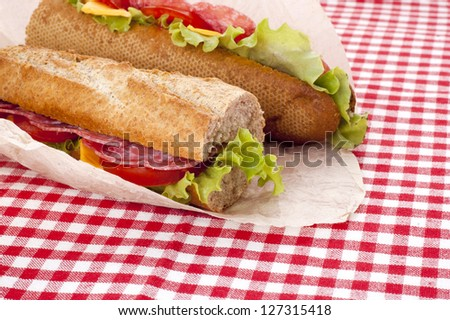 baguette with meat and vegetables