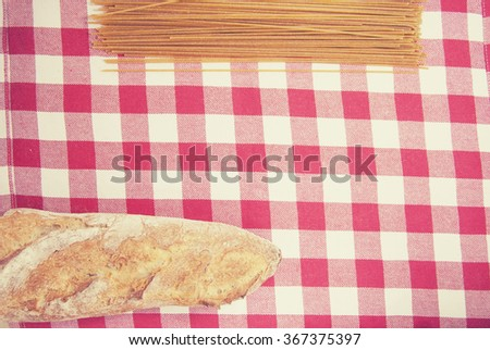baguettes and wholegrain spaghetti on a table
