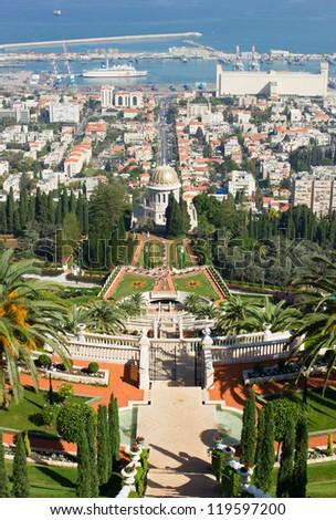 Bahai garden and temple in Haifa - stock photo