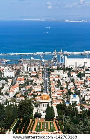 Bahai Garden, Bahai Temple in Haifa, Israel, Carmel mountain - stock photo