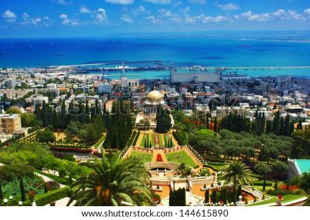 Bahai Gardens in Haifa Israel  - stock photo