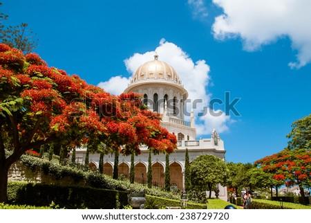 Bahai temple in Bahai garden, Carmel mountain, Haifa, Israel. - stock photo