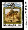 BAHAMAS-CIRCA 1988:A stamp printed in Bahamas shows image of the Discovery of the new world Christopher Columbus, circa 1988. - stock photo