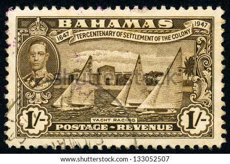 BAHAMAS - CIRCA 1948: A stamp printed in Bahamas shows portrait of King George VI and Yacht racing, circa 1948