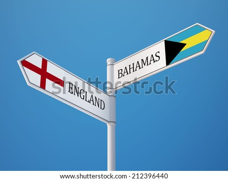Bahamas  England High Resolution Sign Flags Concept