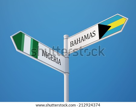 Bahamas  Nigeria High Resolution Sign Flags Concept