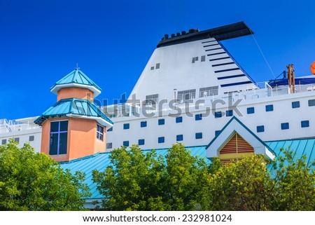 Bahamas pier landscape in Nassau city , Caribbean - stock photo