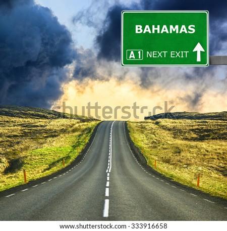 BAHAMAS road sign against clear blue sky - stock photo