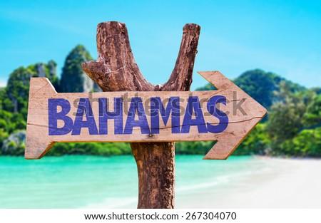 Bahamas sign with beach background - stock photo