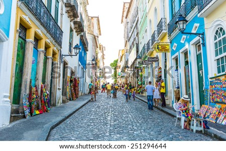 BAHIA, BRAZIL - CIRCA NOV 2014: People walk in Pelourinho area, famous Historic Centre of Salvador, Bahia in Brazil. - stock photo
