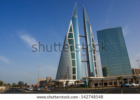 BAHRAIN - FEBRUARY 27: Bahrain World Trade Center - The Bahrain World Trade Center is a 240-meter-high twin tower complex located in Manama, on February 27, 2009 in Bahrain  - stock photo