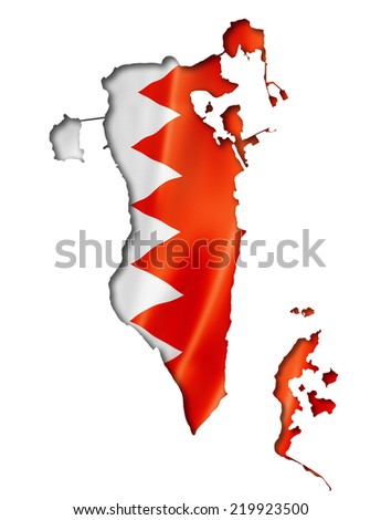 Bahrain flag map, three dimensional render, isolated on white - stock photo