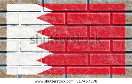 Bahrain flag painted on old brick wall texture background - stock photo