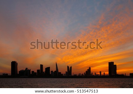 Bahrain skyline and beautiful sunset, HDR