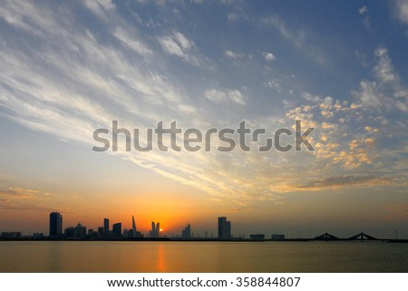 Bahrain Skyline at sunset