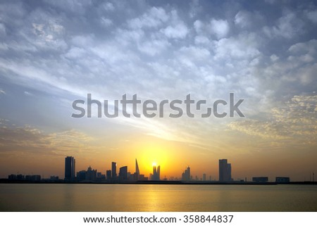Bahrain Skyline during sunset