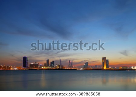 Bahrain Skyline during sunset at blue hours