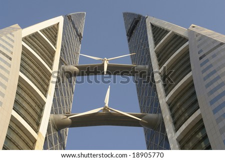 Bahrain  World Trade Center. Very modern and artful building that projected to supply its own energy consumption  via huge wind turbines. This is close-up to wind turbines - stock photo