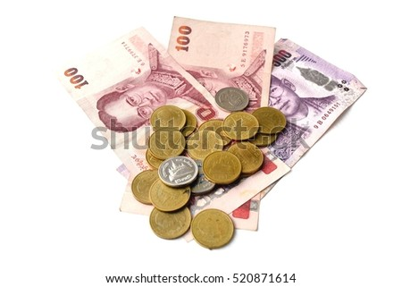 Baht coins and bank White background.