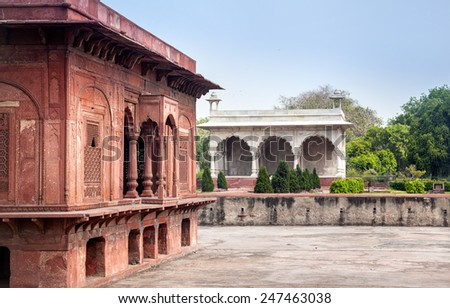 Baidon Pavilion of Red Fort in Old Delhi, India - stock photo