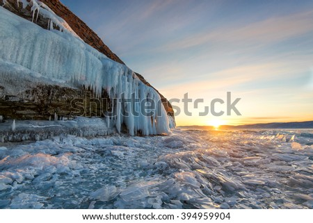 Baikal Lake Ice at Sunset - stock photo