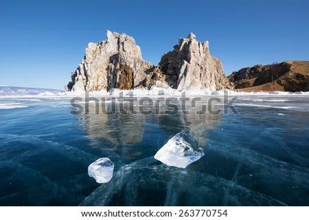 Baikal lake in wintertime, Siberia, Russia - stock photo