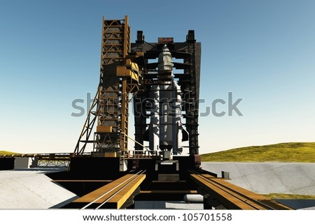 Baikonur with the spacecraft against the sky - stock photo