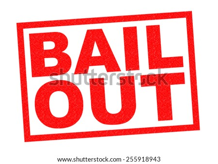 BAIL OUT red Rubber Stamp over a white background.