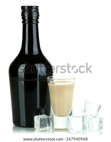 Baileys liqueur in bottle and glass isolated on white - stock photo
