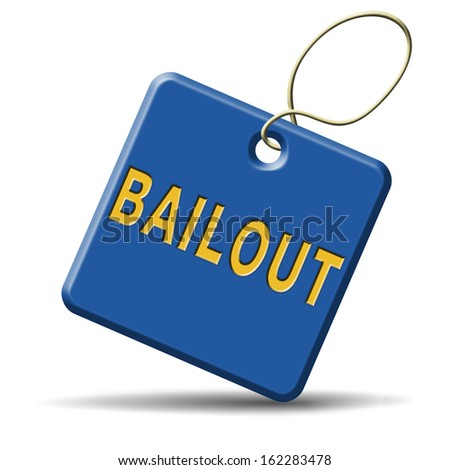 bailout or bankruptcy economic crisis and financial recession icon sign or button - stock photo