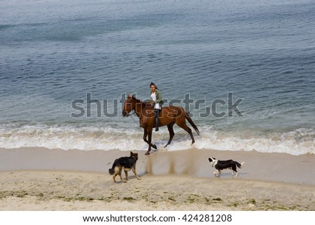 BAIONA, GALICIA, SPAIN - AUGUST 26: young woman riding a horse with her dogs at the beach, on August 26, 2015 in Baiona, Galicia, Spain - stock photo