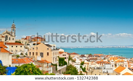 Bairro Alto as seen from the Miradouro (Belvedere) de Santa Caterina, Lisbon, Portugal - stock photo