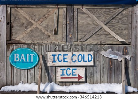 Bait shop in winter