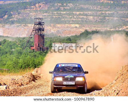 BAKAL, RUSSIA - AUGUST 4: Dmitry Manaev's LADA Samara (No. 59) competes at the annual Rally Southern Ural on August 4, 2007 in Bakal, Satka district, Chelyabinsk region, Russia. - stock photo
