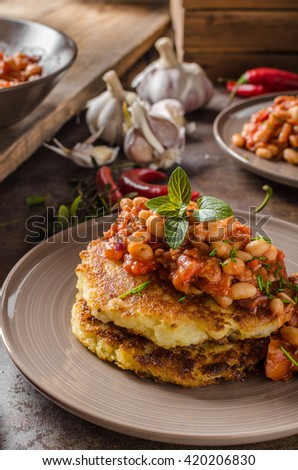 Bake beans with fluffy potato cakes, spicy and delicious breakfast