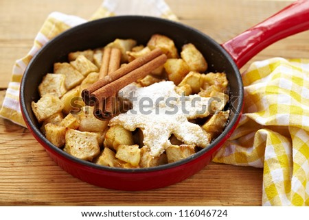 Baked apple dessert with spice - stock photo