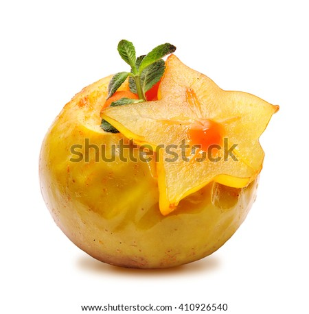 Baked apple on a white background