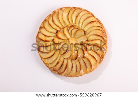 baked Apple Pie on a white background